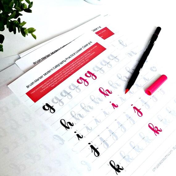 Brush marker modern calligraphy practice worksheets