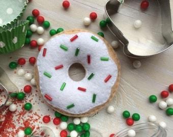 Play- vanilla cake donut with christmas shiney sprinkles