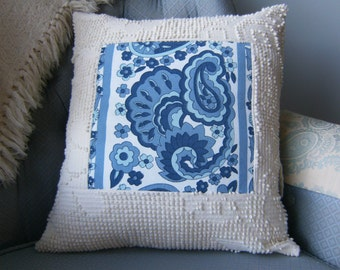 """Pillow Cover, Upcycled Pillow Cover, 16"""" x 16"""" Pillow Cover, Chenille Pillow Cover, Ivory & Blue Pillow Cover, Throw Pillow Cover"""
