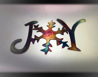 Joy Christmas holiday santa metal wall art decor, many colors, december, winter, gifts for friend parents grandparents coworker, jingle gift