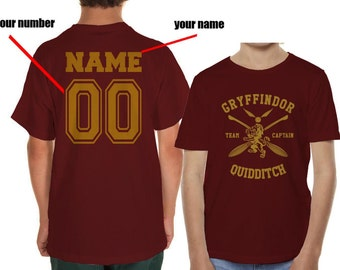 CAPTAIN - Custom back, Gryffindor Quidditch team Captain on YOUTH tee