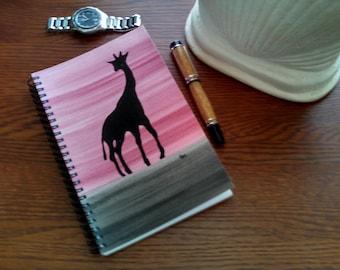 Hand Painted Spiral Journal; Wire Bound Blank Notebook; Writing Journal, Small Sketchbook; Giraffe Symbolism