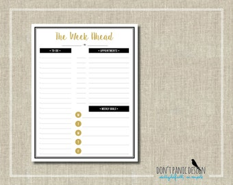 Printable Weekly Planner Page - Fun Gold and Black Daily Planner Sheet - Weekly Schedule Planner - To Do List - Menu Planner