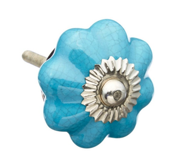 Turquoise ceramic knobs pulls dresser drawer cabinet or door for Turquoise cabinet pulls