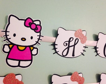 Hello Kitty Banner, Name Banner, Birthday Banner, Baby Shower Banner
