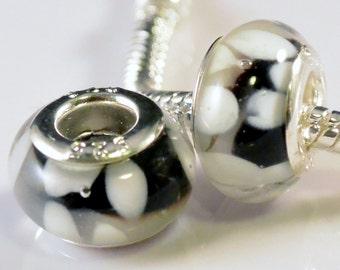 SALE - 2pcs Murano Glass Beads Lampwork Silver Core Large Hole Fits European & Charm Bracelets - White Spots