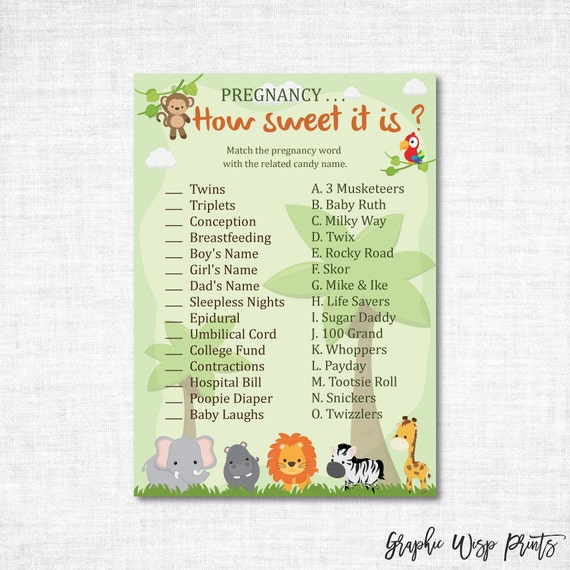 Sweet Sweet Baby Baby Shower Game: Safari Baby Shower Pregnancy How Sweet It Is Game Printable