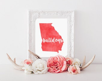 University of Georgia Bulldogs Watercolor State Printable (8x10 & 5x7)
