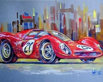 Kunst Originalgemälde - Ferrari 330P4 - Gouache - auf Malkarton (200g/qm), 24 Heures du Mans