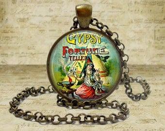 Gypsy Jewelry Gypsy Necklace Fortune Teller Pendant Halloween Necklace Halloween Jewelry gypsy Fortune teller keychain Keyfob