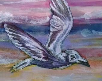 "OOAK Freedom Flight 4"" x 6"" Acrylic Painting"