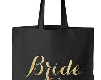 Black Bride Tote Bag, Bridal Tote, Bride Bag, Bridesmaid Tote, Personalized Tote, Bachelorette Tote, Wedding Tote, Wedding Day Tote