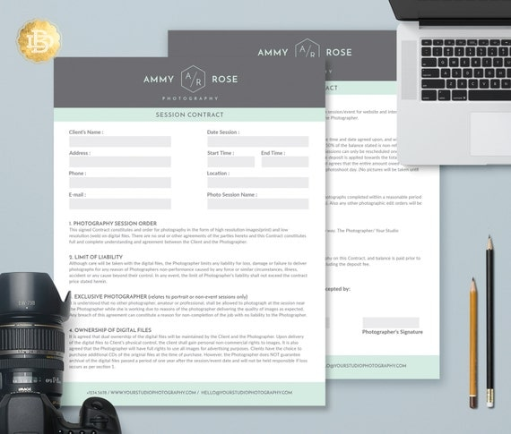 Session Contract Template for Photographer, Photography Wedding Contract Form in MS Word and Adobe Photoshop - INSTANT DOWNLOAD - SC002