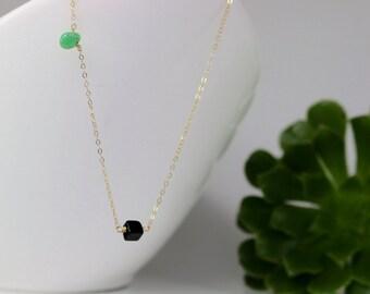 Dainty necklace/modern necklace/minimalist necklace/layered necklace/black necklace/gemstone necklace/evereyday necklace/christmas gift
