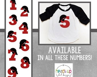 Pirate Birthday Raglan Shirt 1,2,3,4,5,6 - Toddler Boy/Girl Pirate Number Birthday tshirt - Pirate Party Tee - Boy/Girl Pirate Raglan Bday -