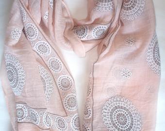 Geometric print cotton scarf baby pink, green, beige, baby blue