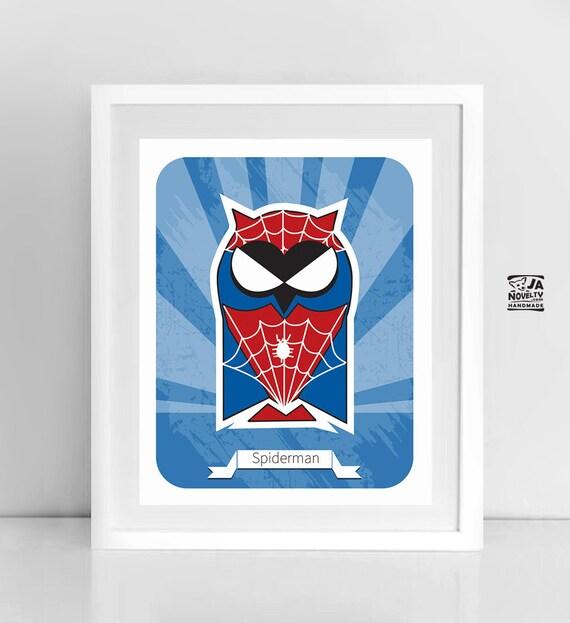 Superhero Owl Spiderman Nursery Owl Wall Art By