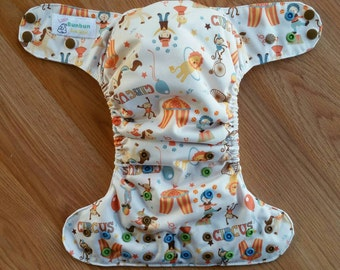 Big Tent Circus cloth diaper - AIO cloth diaper - one size cloth diaper - cv inner - hemp bamboo soakers - gender neutral