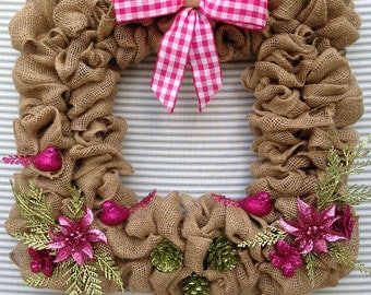 Burlap Wreath, Square Burlap Wreath, Square Spring Wreath, Pink Flower Wreath, Spring Wreath, Spring Burlap Wreath, Pink Wreath
