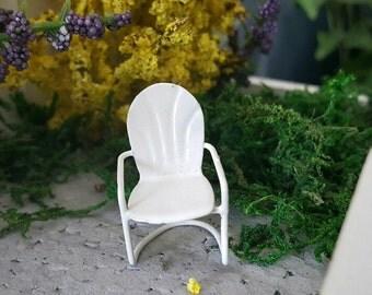 Miniature Teeny White Metal Retro Lawn Chair