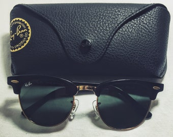 Vintage Ray-Ban Black Clubmaster Matte Sunglasses