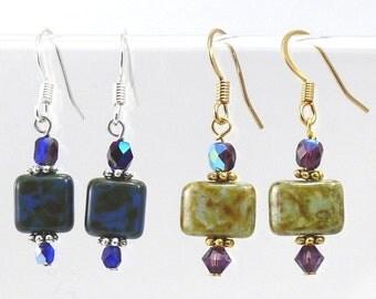 Czech Glass Square Earrings Dangle Earrings Gift Jewelry Gift Gold Earrings Beaded Earrings  Gift Earrings Bridesmaid GIfts VanBeekJewelry