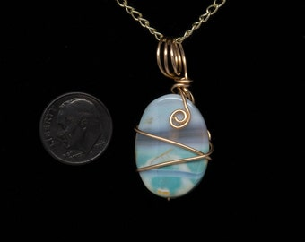 Pendant, Wire, Wrapped, Rainbow, Agate, Reiki Infused, Pendant