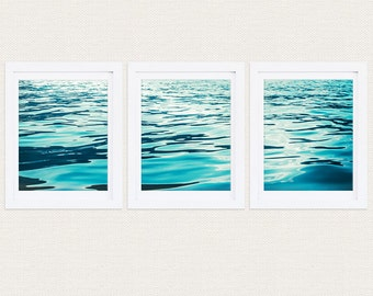 Triptych Waves Prints, Aqua, Blue, Ocean, Sea, Water, Modern, Set of 3, Gallery Wall, Home Decor
