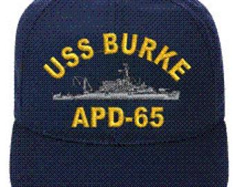 USS BURKE APD-65  Ball Cap   New Item