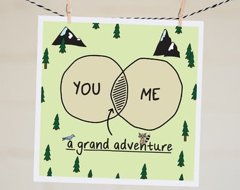 You and Me a Grand Adventure Card | Venn Diagram Valentine's Day Card | Anniversary Card | Love Card | Engagement Card | Handmade | Cute