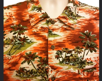 Orange Hawaiian 100% Cotton Shirt Large