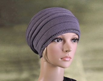 Womens knit hats, Ladies knit hats, Knit slouchy beanie, Trendy womens hats, Ladies knit beret, Knitted hat for lady, Knit cap for women,