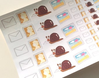 64 Post/Mail Themed Hand Drawn Stickers - Perfect for Planners, Pen Pals, Postcrossing etc.