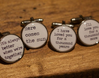 Song Lyrics Cufflinks - Unique and personal gift - Music lovers cufflinks - Quotes - Wedding cufflinks, groom, best man, ushers. First Dance