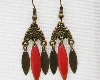 Coral retro earrings, spirit art deco, vintage