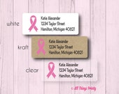 Breast Cancer Custom Return Address Labels - Personalized Pink Ribbon Stickers - Matte White, Kraft, or Clear Gloss