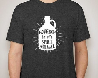 Sale! Bourbon Is My Spirit Animal T-Shirt, Tri Blend Cotton
