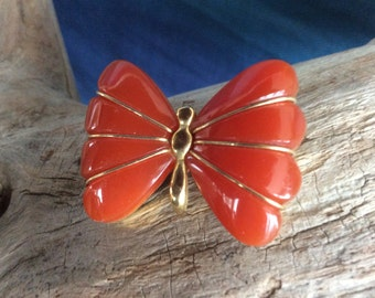 Vintage Crown Trifari Burnt Orange Butterfly Brooch from the 1960's