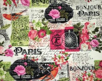 Bon Jour Paris Black Floral Rose Vintage Style Designer Apparel Quilting 100% Cotton Fabric 1 Yard