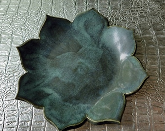Jewelry dish, ring dish, flower, trinket dish, clay, turquoise