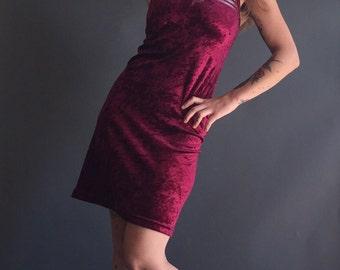 Vintage 90s Next Generation Crushed Velvet BodyCon Daisy Mini Dress