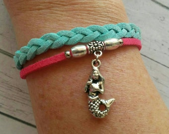 Silver Mermaid Charm Bracelet for Girls // Hot Pink & Mint Multi Strand Friendship Bracelet// Beach Jewelry// Choose Charm and Cord Color