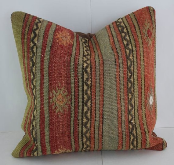 16x16 Red & Sage Accent Pillow Cover Rustic Pillows Throw