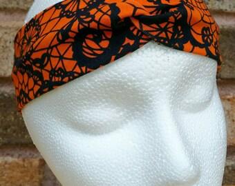 Women's turban headband - faux lace headband -Halloween headband - twist headband - gift for her - activewear - workout headband - boho