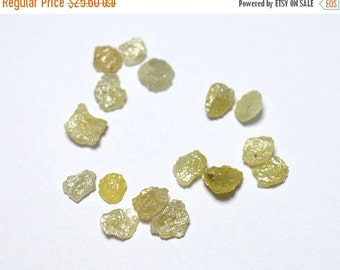 ON SALE 40% 4 Pieces Raw Diamonds, Flat Rough Diamonds, Yellow Diamonds, Uncut Diamonds 5mm each Approx