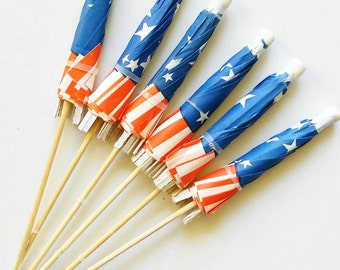 Fourth of July parasols. America parasols. Red white and blue parasols. Fourth of July Birthday.
