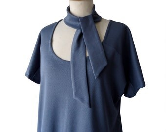 Tunic blouse cotton organic blue-grey Annie