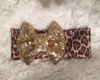 Leopard turban with gold sequin bow