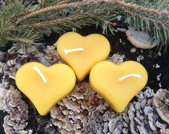 Floating Heart Candles - 100% pure beeswax