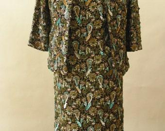 vintage beaded dress and jacket set